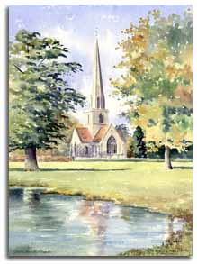 Print of watercolour painting of Shottesbrook Church, by artist Lesley Olver