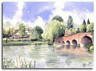 Print of watercolour painting of Sonning, by artist Lesley Olver
