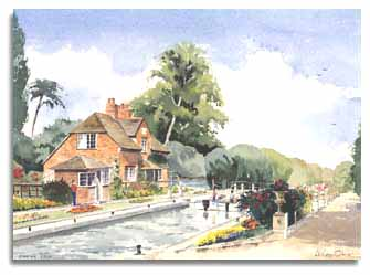 Print of watercolour painting of Sonning Lock, by artist Lesley Olver