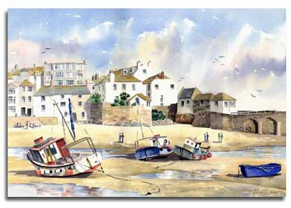 Print of watercolour painting of St Ives, by artist Lesley Olver