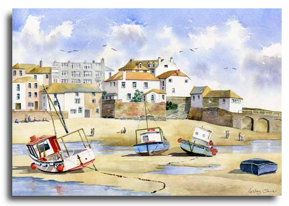 Original watercolour painting of St Ives, Cornwall, by artist Lesley Olver