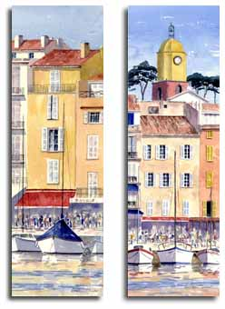 Prints of watercolour paintings of St Tropez, France, by artist Lesley Olver