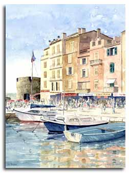 Print of watercolour painting of St Tropez, France, by artist Lesley Olver