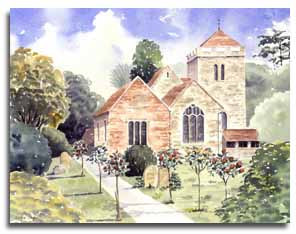Print of watercolour painting of St Giles' Church, Stoke Poges, by artist Lesley Olver