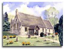 Print of watercolour painting of Stubbings Church, by artist Lesley Olver
