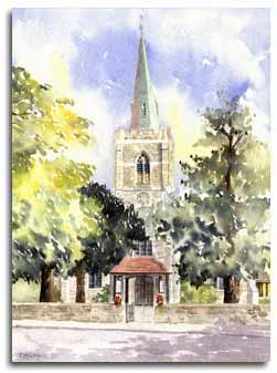 Print of watercolour painting of Taplow Church, by artist Lesley Olver