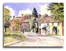 Print of watercolour painting of Taplow village, by artist Lesley Olver