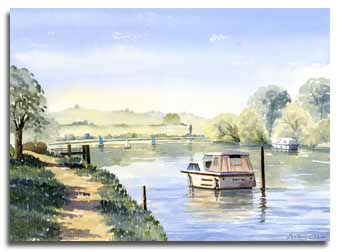 Print of watercolour painting of the Thames at Cookham, by artist Lesley Olver
