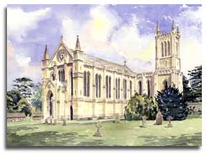 Print of watercolour painting of Theale, by artist Lesley Olver
