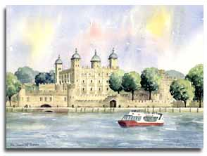 Print of watercolour painting of The Tower of London, by artist Lesley Olver