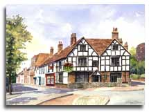 Print of watercolour painting of Wokingham, by artist Lesley Olver
