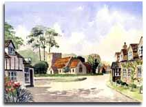 Print of watercolour painting Turville, by artist Lesley Olver