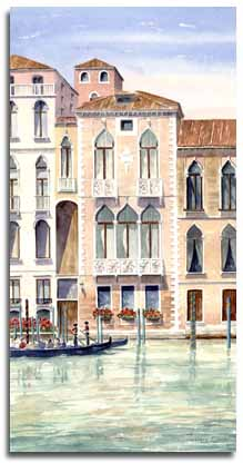 Print of watercolour painting of Venetian palazzo, by artist Lesley Olver