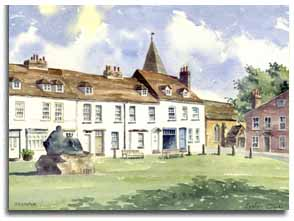 Print of watercolour painting of Westerham, by artist Lesley Olver
