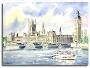Print of watercolour painting of Westminster, by artist Lesley Olver