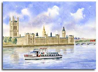 Original watercolour painting of Westminster, by artist Lesley Olver