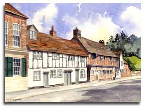 Original watercolour painting of West Wycombe, by artist Lesley Olver